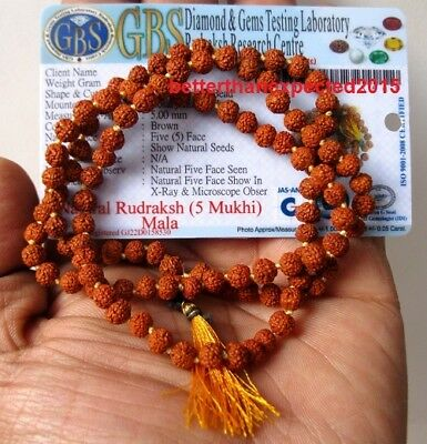 Lab Certified Prayer beads Rudraksha mala rosary 5 mm japa yoga 108+1 Beads mala