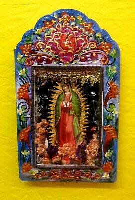 Virgen of Guadalupe  Tin Nicho Authentic Mexican Folk Art by Gustavo Chui Fong.