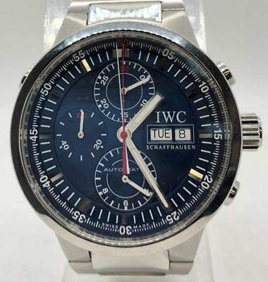 IWC GST Rattrapante IW3715 Chronograph Stainless Steel RARE BLUE Dial 43mm