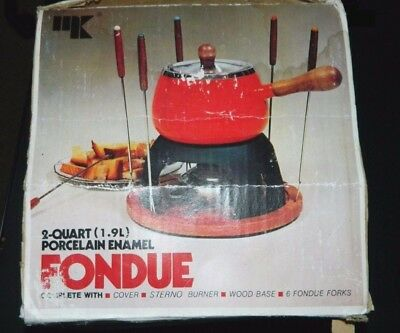 Porcelain Enamel Fondue Set 1975 Vintage Red 11 Piece NEW In Box By Kamenstein