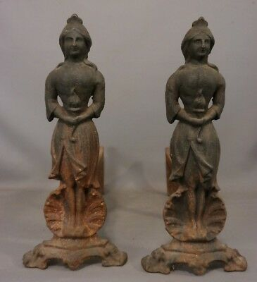19thC Antique VICTORIAN LADY & TORCH STATUE Figural CAST IRON Fireplace ANDIRONS