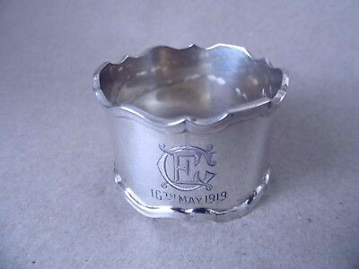 Excellent Beautiful Large Antique Sterling Silver Napkin Ring 1914