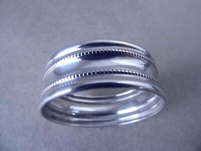 Beautiful Victorian Sterling Silver Beaded Napkin Ring 1898, Not Engraved
