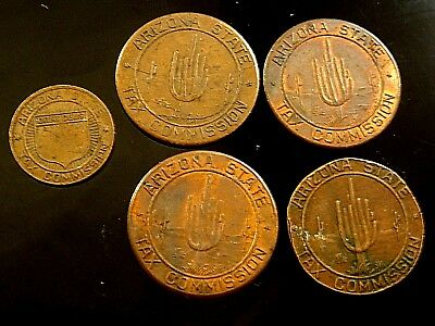 Old Exonumia Lot of 5 TOKENS  State of Arizona Sales Tax Tokens 5 Cent / 1 Cent