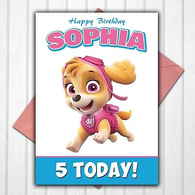Paw Patrol Skye Personalised 3rd 4th 5th 6th 7th 8th Birthday Card Any Name Age