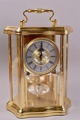Gorgeous Koma West Germany Glass Brass Anniversary Clock Crystal  Working Order