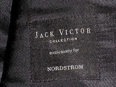 Jack Victor 100% Wool 3 Button Dark Navy w/ Subdued Windowpane Suit 42L