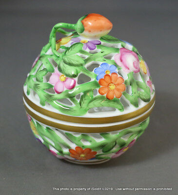 """Vintage HEREND RETICULATED BOWL w/ Strawberry LID Floral Round 3"""""""