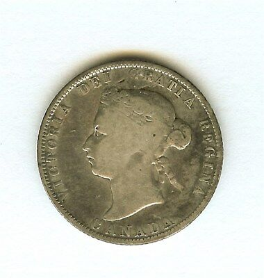 Canada 1874-H Silver 25 Cents  Very Good