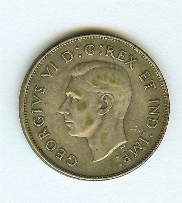 Canada 1947 Silver 50 Cents -Curved 7- Extra Fine