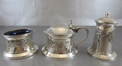 Irish Sterling 3Pc Condiment Set. Dublin 1940. Dish Ring Form. Mustard, Salt Pep
