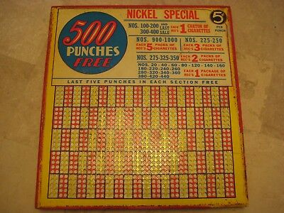 "Vintage Unused Punch Board Trade Stimulator ""Nickel Special"" Cigarettes 10""x9"""