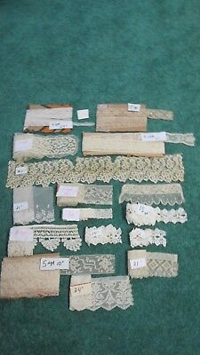 #4 Mixed Lot Of Antique Cotton 1900's Lace Trims~Dolls,Crafts,Sewing,Restoration