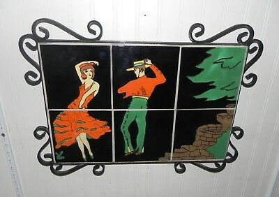 Vintage 6 Tile, Taylor Tilery Spanish Dancers Mural in Wrought Iron Wall Hanging