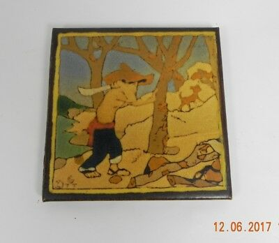"""Vintage 6"""" VERY RARE Taylor Tile, Named  """"Chopping Wood, """"El Monica"""" Series MINT"""