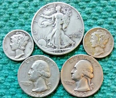 Lot of 5 90% Silver Coins, 1 Half Dollar, 2 Quarters, 2 Dimes, Circulated, #18