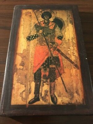 "Greek  Orthodox Hand Crafted Wood Icon St George Battle Picture 7"" X 10.5"""
