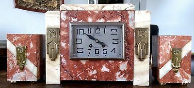 Schreck of Cherbourg marble art deco mantle clock with brass motifs & garnitures