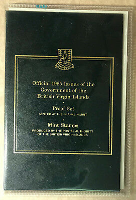 1985 British Virgin Islands 6 Coin Proof Set incl Official Stamps-Fish & Turtle