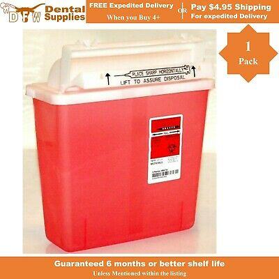 COVIDIEN KENDALL SharpSafety Phlebotomy Sharps Container 5Qt Red Waste-US SELLER