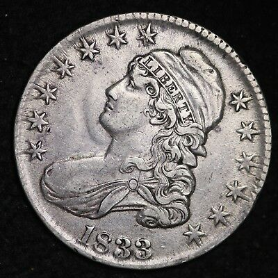 1833 Capped Bust Half Dollar CHOICE XF FREE SHIPPING E368 ACTX