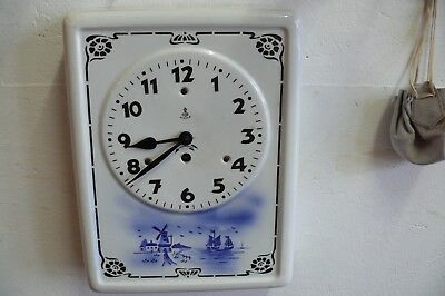 Rare Antique Kitchen Clock Mechanical Gustav Becker Motif Holland!