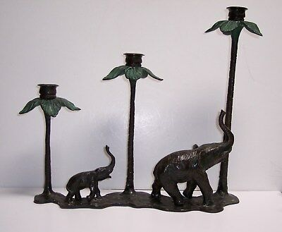 Bronze Pair Mother And Calf Elephants Under Palm Trees 3 Light Candle Holder