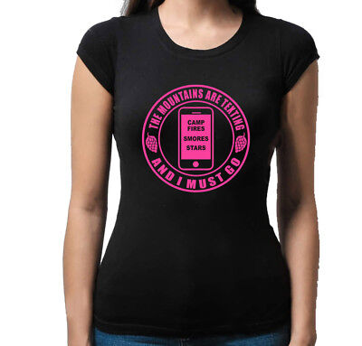 Camping The Mountains Are Texting  Cell Phone Shirt Tank Top Camping Hiking
