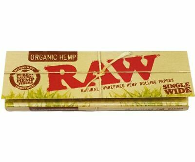 Raw Organic Single Wide 50 Papers Tobacco Cigarette Rolling Smoking
