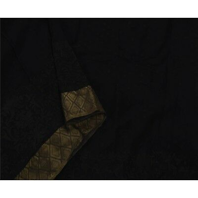 Sanskriti Antique Vintage Saree Pure Georgette Silk Embroidered Black Fabric Pre