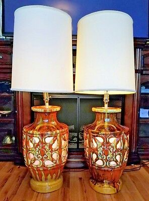 Pair of Vintage Mid Century Drip Lava Glaze 60's Orange Ceramic Pottery Lamps