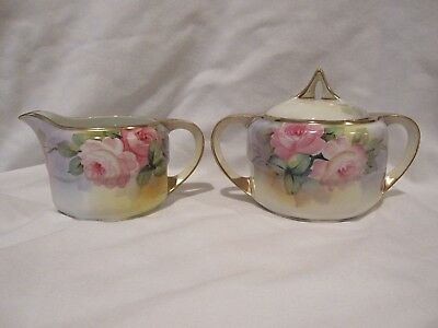 Antique Nippon Hand Painted Sugar Bowl and Creamer Roses Signed