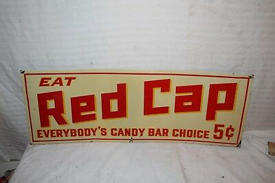 """Vintage 1940's Red Cap 5c Candy Bar Gas Oil 28"""" Embossed Metal Sign"""