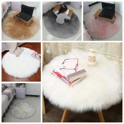 Fluffy Faux Fur Circular Sheepskin Area Rug Round Floor Mat Available In 2 Sizes