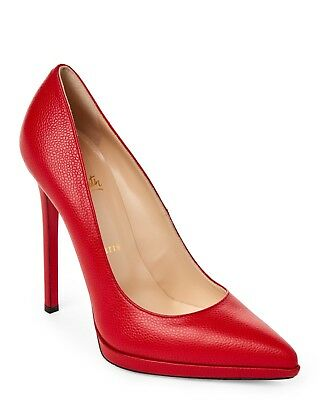 100% Authentic New Women Louboutin Pigalle Plato 120 Red Pumps/heels Us 10