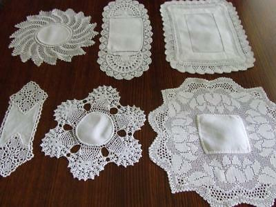 A Mix of Six White Vintage Hand Crocheted Doilies with White Cotton Centres