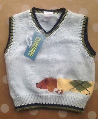 NWT Gymboree COUNTRY CLUB Dachshund Dog Sweater Blue Vest Easter 12 18