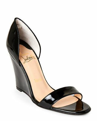 100% Authentic New Women Louboutin Passmule Black Wedge/espadrille Us 8.5