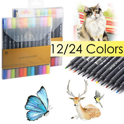 STA 12/24-Color Brush+Fine Dual-Tip Watercolor Aquarelle Painting Detailing Pen