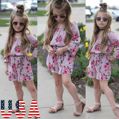USA Newborn Baby Girl Floral Clothes Romper Tutu summer Outfit Sunsuit Clothing