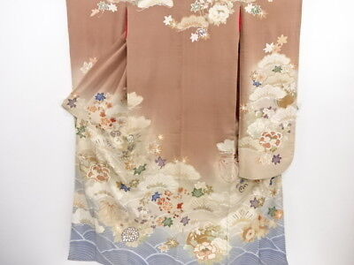 3644098: Japanese Kimono Rare! Antique Five Crest Furisode & Nakagi Set / Em