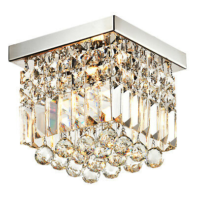 Moooni Modern Mini Crystal Chandelier for Hallway Square Raindrop Ceiling Lights