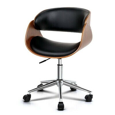 Executive Wooden Office Chair Leather Padded Computer Home Work Seat Deluxe