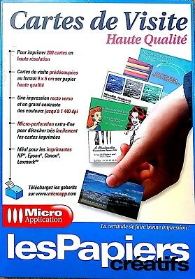 MICRO APPLICATION CARTES De Visite Pour PC Windows Neuf Sous Blister