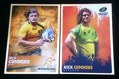 2 x Nick Cummins ARU Rugby Gold Parallel Insert Trading Cards Honeybadger Rare