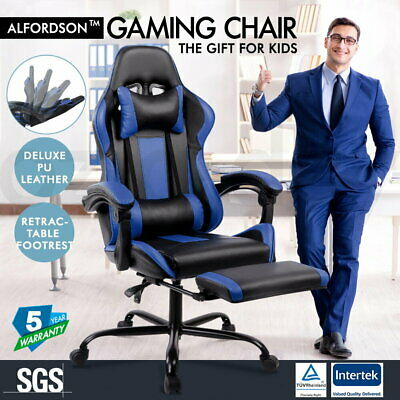 ALFORDSON Gaming Office Chair Executive Racing Footrest Seat PU Leather Blue