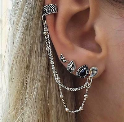 Bohemia Silver Ear Clip Stud Dangle Earrings Set Fashion Jewelry Women Retro