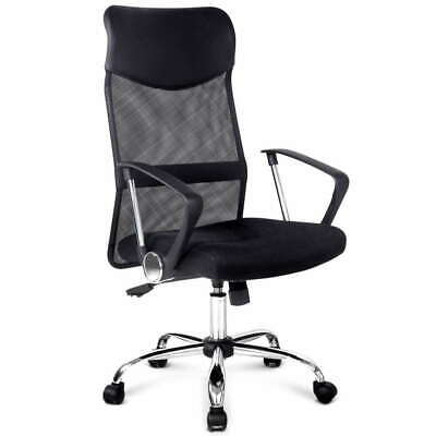 Executive High Back Mesh Computer Desk Office Chair PU Leather Tilt Black