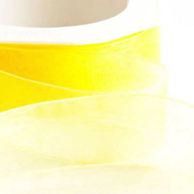 Bright Lemon Yellow Woven Edge Organza Sheer Ribbon - Craft - Cut Lengths