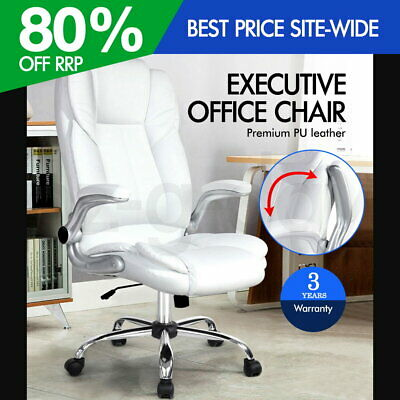 New Executive Office Chair Faux Leather Retractable Armrests Seat White